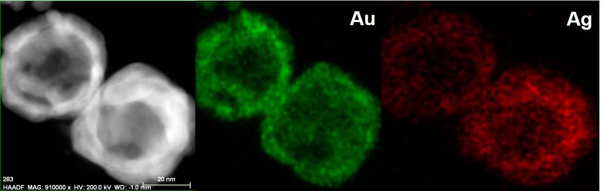 HAADF images of a pair of Au-Ag Nanocages and their corresponding STEM-EDS