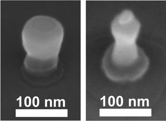 Two MTJ nanopillars in an intermediate fabrication step defined by e-beam lithography. Both have a diameter far below 100 nm and show TMR signals of up to 120%.